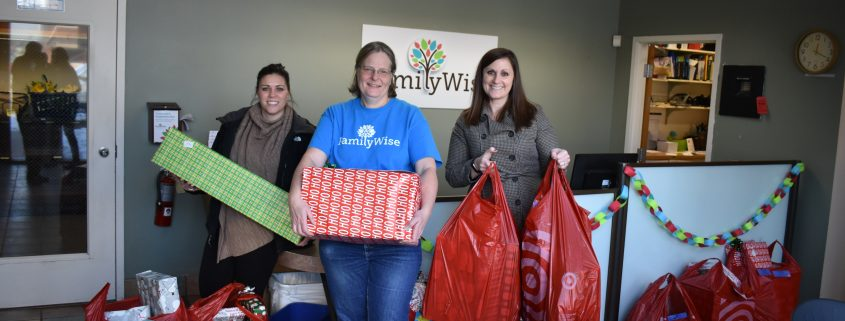 Delivering presents to FamilyWise