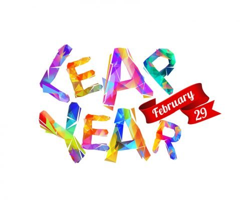 colorful words saying leap year
